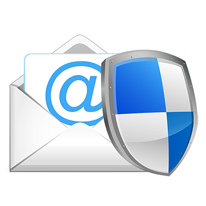 Image of Email Icon with blue and silver shield overlaid